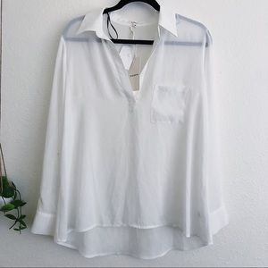 NWT Pleione Ivory Loose Button Down Blouse